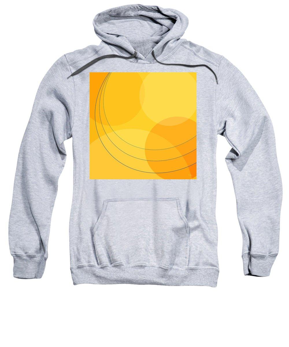 Abstract Sweatshirt featuring the digital art Blue Arcs Through Orange Landscape by James Kramer