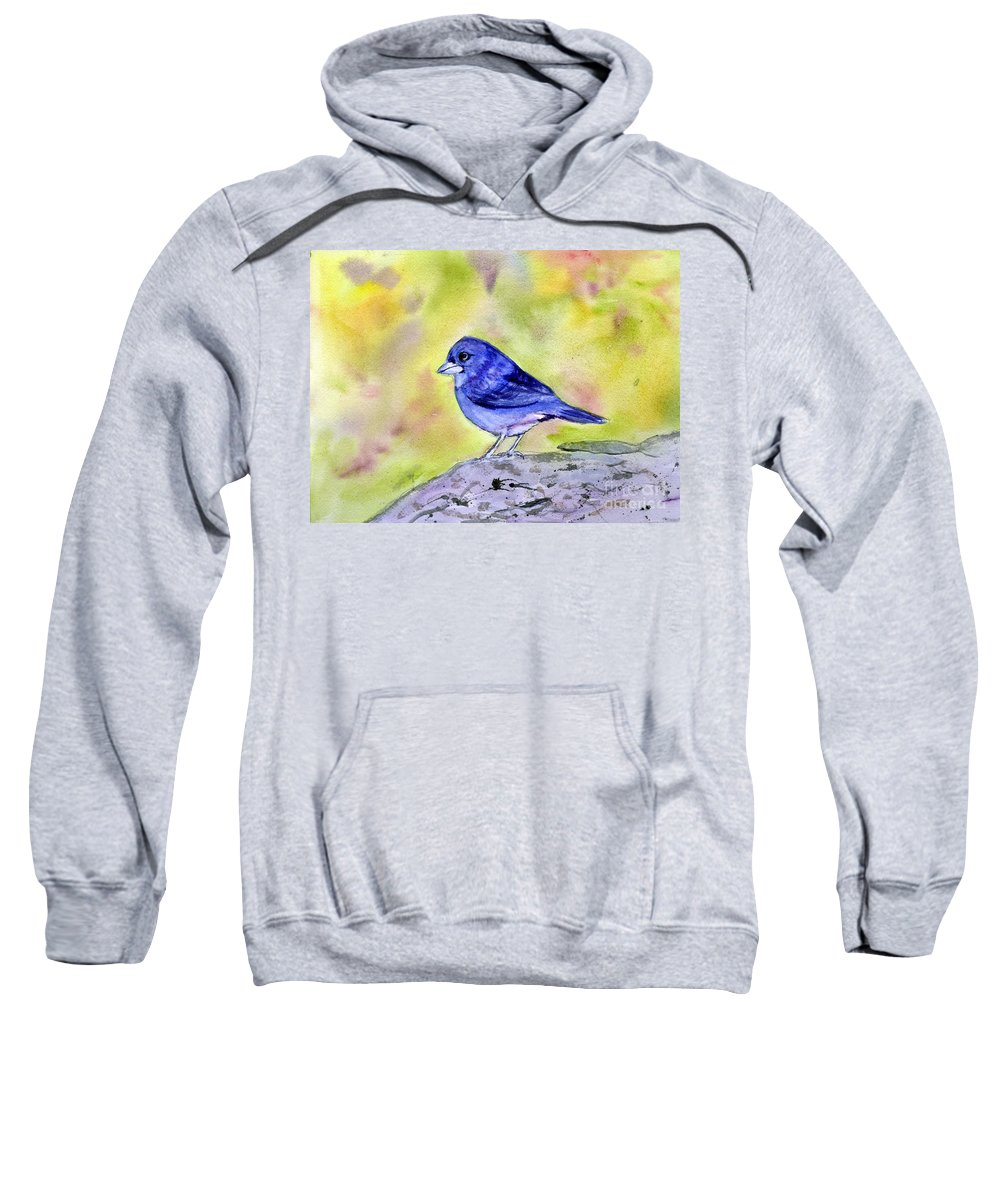 Animal Sweatshirt featuring the painting Blue Chaffinch by Donna Walsh