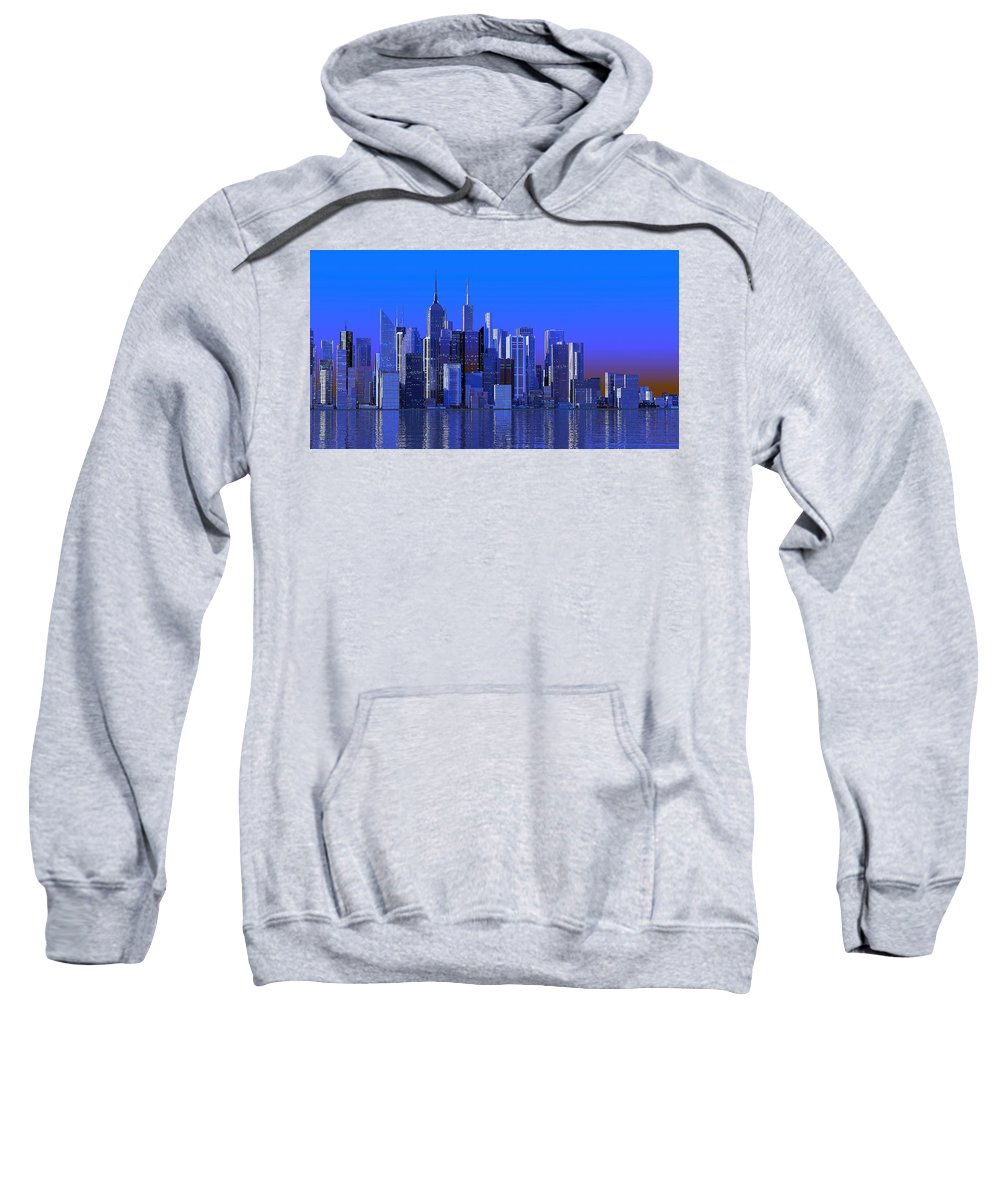 City Sweatshirt featuring the digital art Chicago Blue City by Louis Ferreira