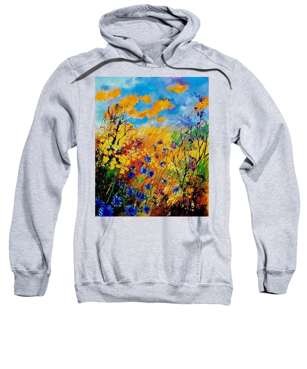 Poppies Sweatshirt featuring the painting Blue Cornflowers 450408 by Pol Ledent