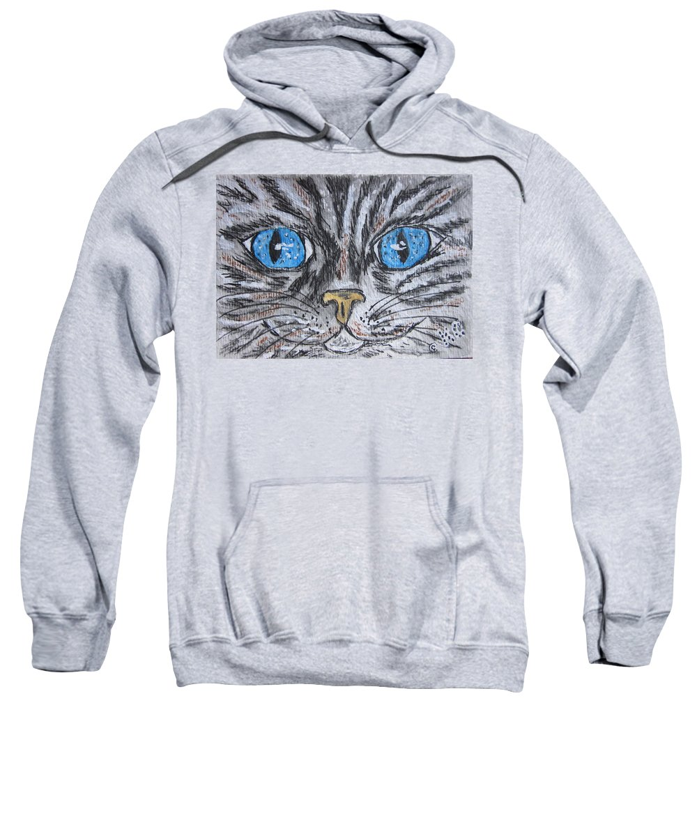 Blue Eyes Sweatshirt featuring the painting Blue Eyed Stripped Cat by Kathy Marrs Chandler