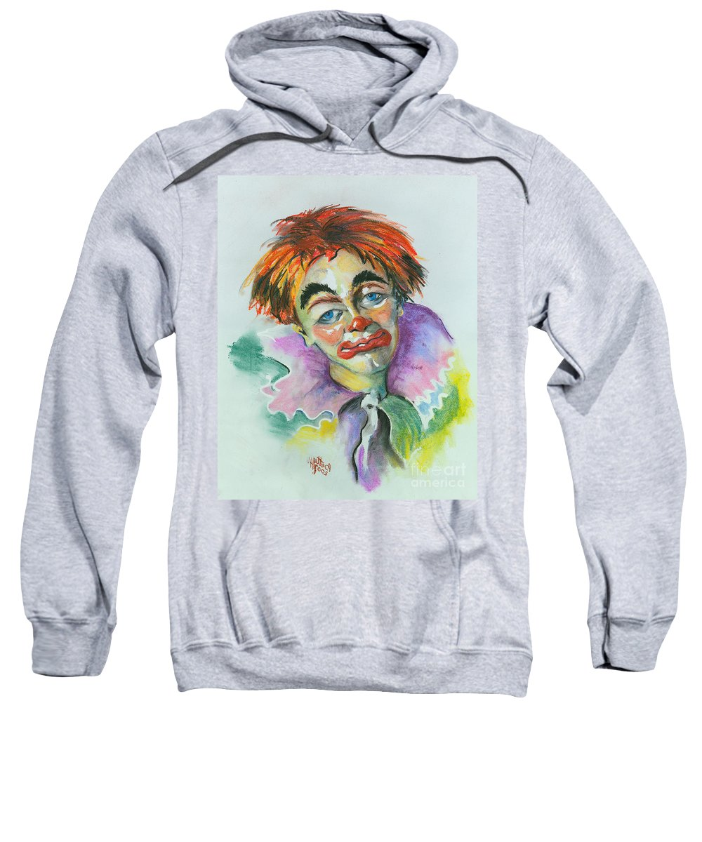 Canvas Print Sweatshirt featuring the painting Blue Eyes by Elisabeta Hermann