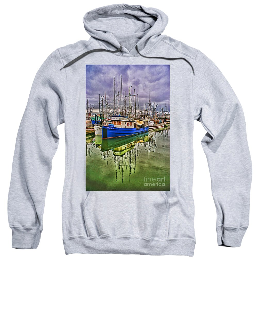 Boats Sweatshirt featuring the photograph Blue Fishing Boat Hdr by Randy Harris