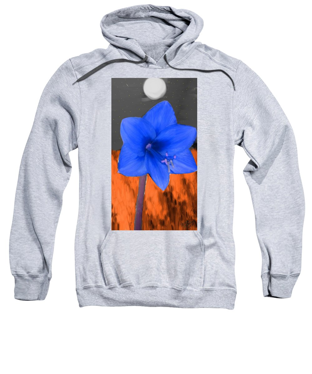 Flower Sweatshirt featuring the painting Blue Flower In The Fall At Night by Bruce Nutting