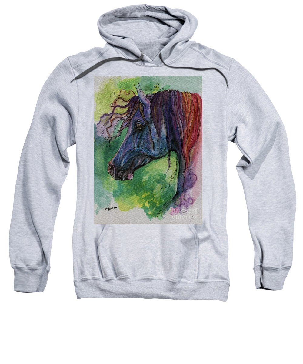 Fairytale Sweatshirt featuring the painting Blue Horse With Red Mane by Angel Ciesniarska