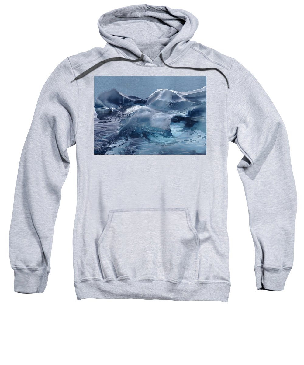 Sculpture Sweatshirt featuring the photograph Blue Ice Sculpture by Ginny Barklow