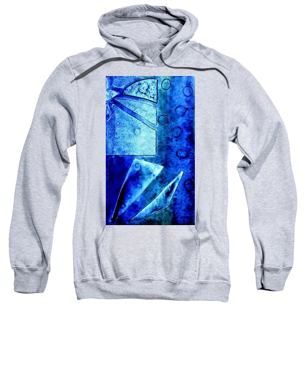 Abstract Sweatshirt featuring the mixed media Blue  II by John Nolan