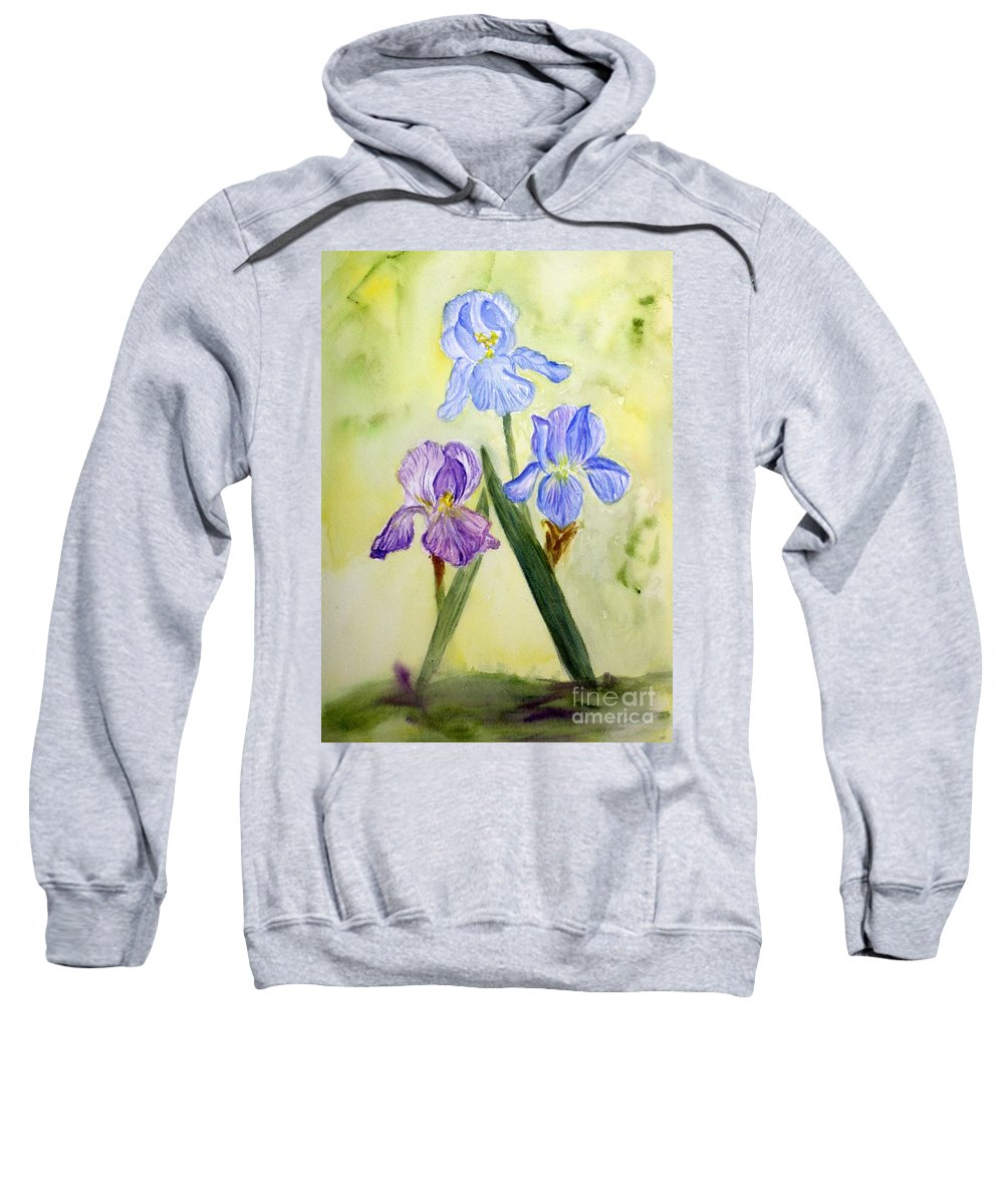 Blossom Sweatshirt featuring the painting Blue Iris by Donna Walsh