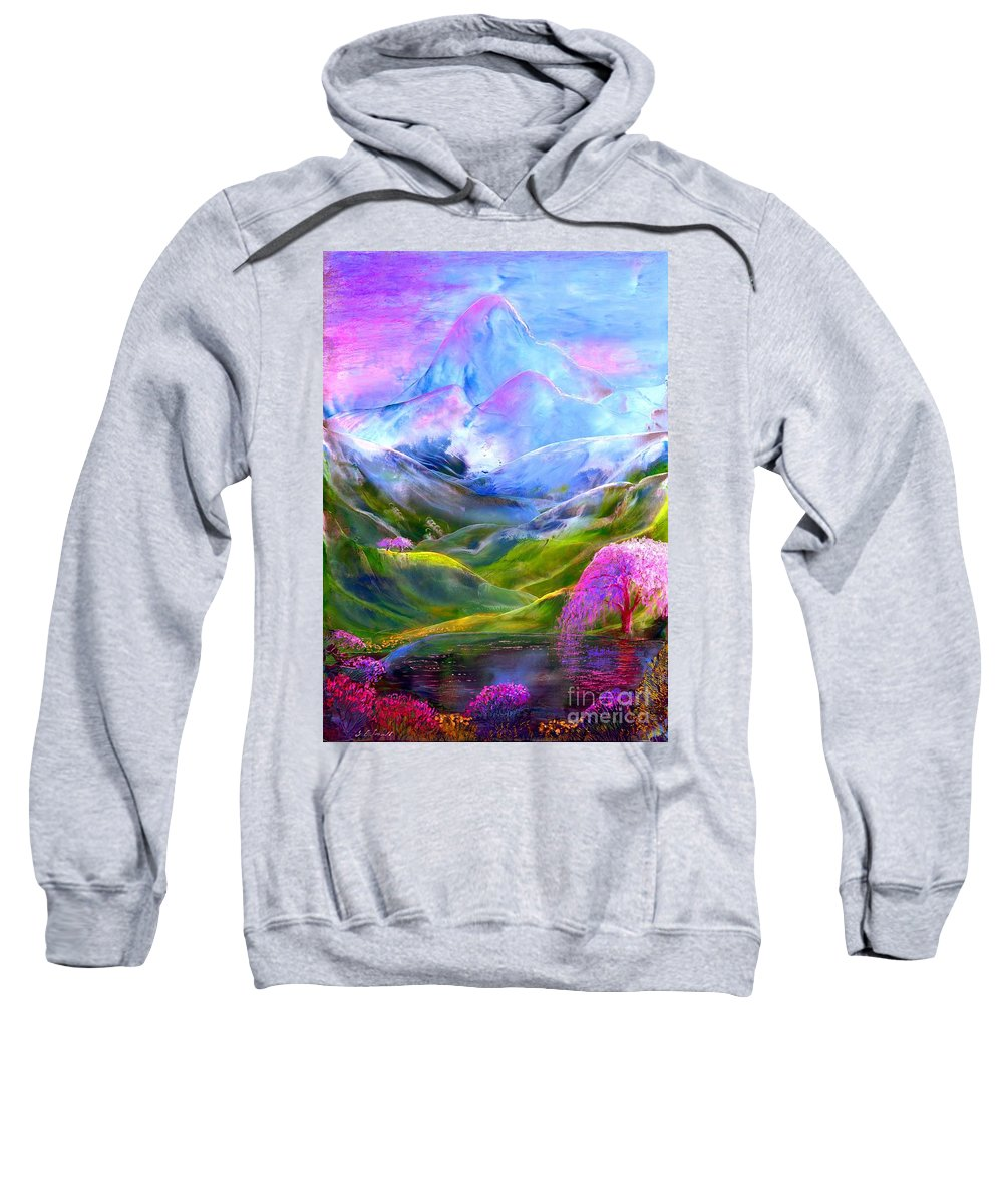 Mountain Sweatshirt featuring the painting Blue Mountain Pool by Jane Small