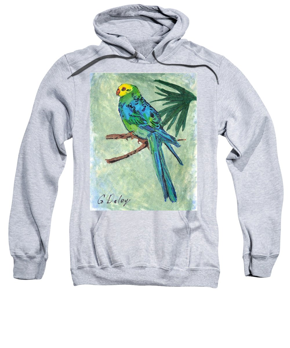 Bird Art Sweatshirt featuring the painting Blue Parakeet by Gail Daley