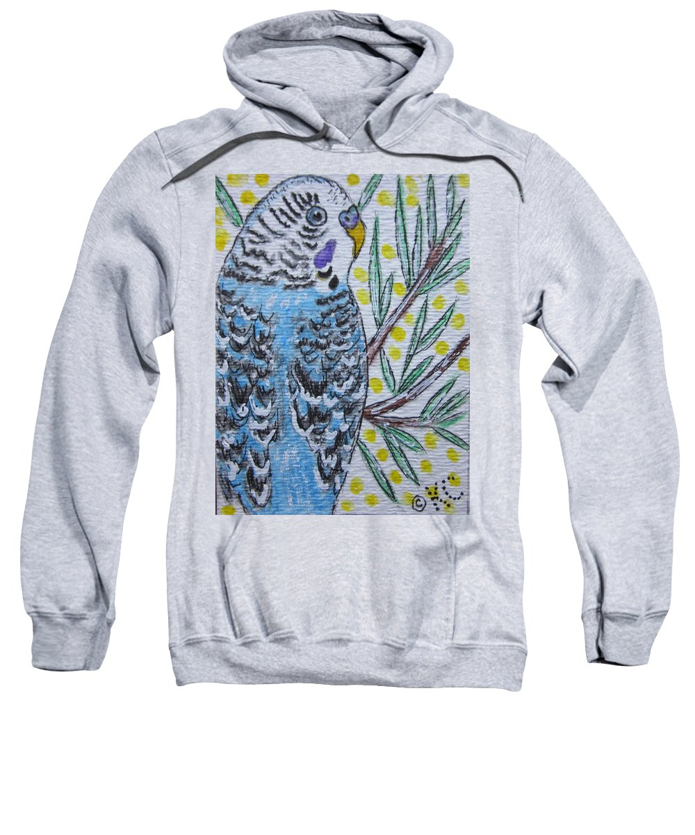 Blue Sweatshirt featuring the painting Blue Parakeet by Kathy Marrs Chandler