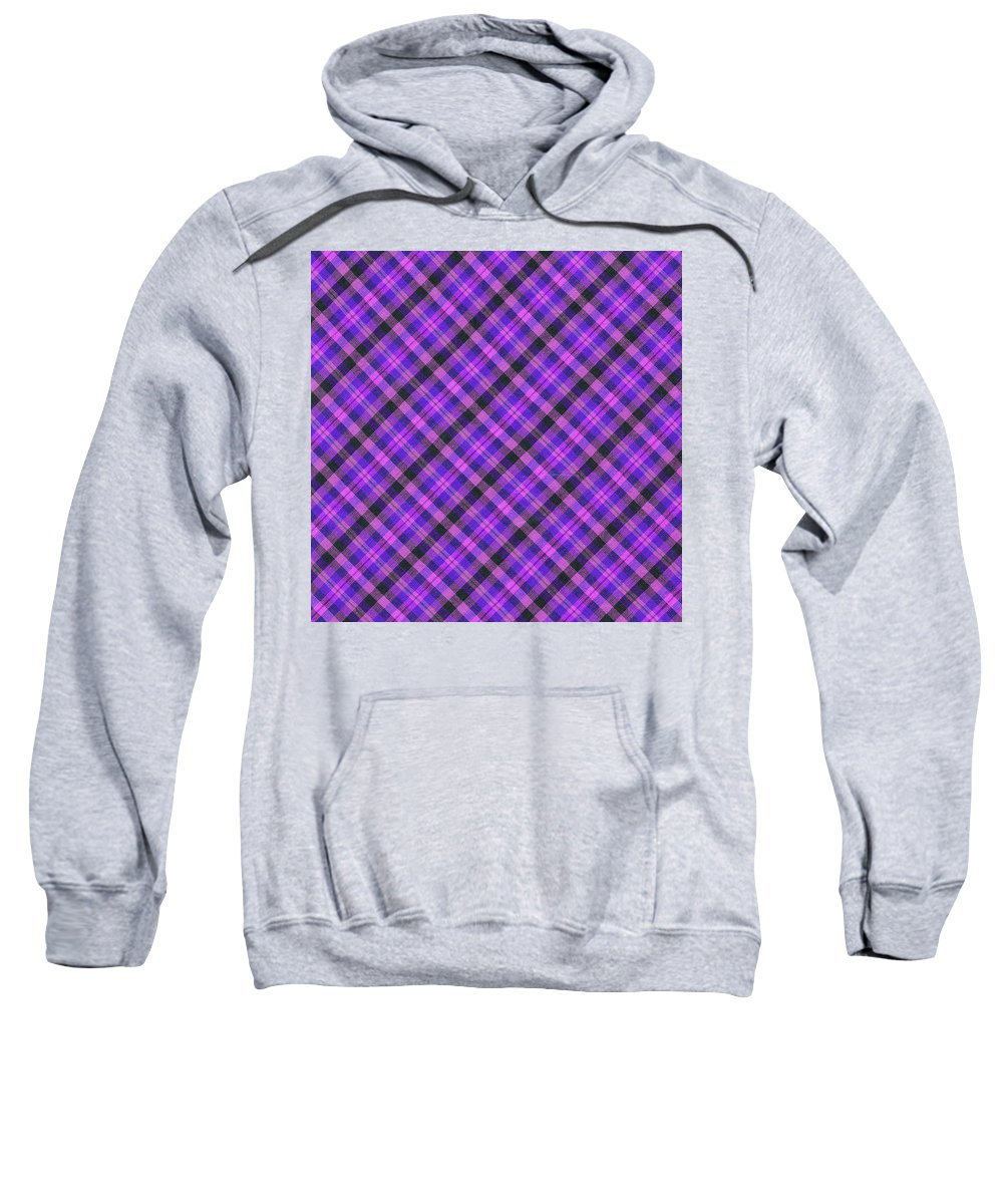Plaid Fabric Sweatshirt featuring the photograph Blue Pink And Black Diagnal Plaid Cloth Background by Keith Webber Jr