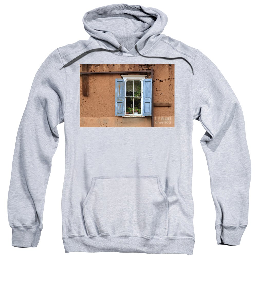 New Mexico Sweatshirt featuring the photograph Blue Shutters by Ashley M Conger