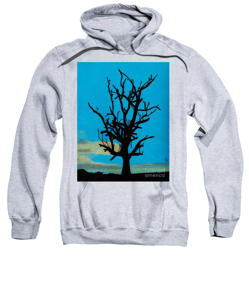 Sunset Sweatshirt featuring the drawing Blue Sunset by D Hackett