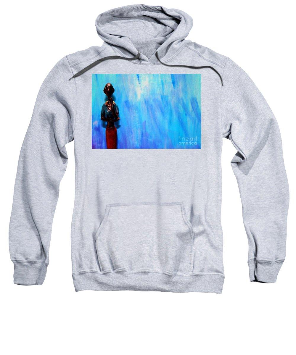 Blue Thinker Sweatshirt featuring the photograph Blue Thinker by Pharaoh Martin