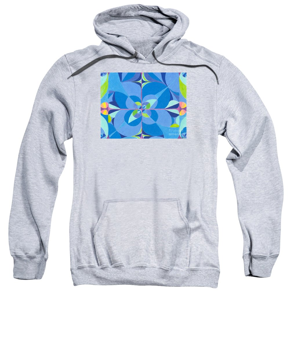 Color Sweatshirt featuring the drawing Blue Unity by Kim Sy Ok