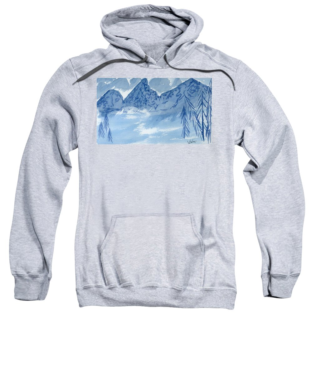 Blue Sweatshirt featuring the painting Blue View #2 by Victor Vosen