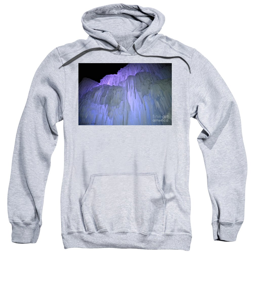 Ice Sweatshirt featuring the photograph Blue Violet Ice Mountain by Susan Herber