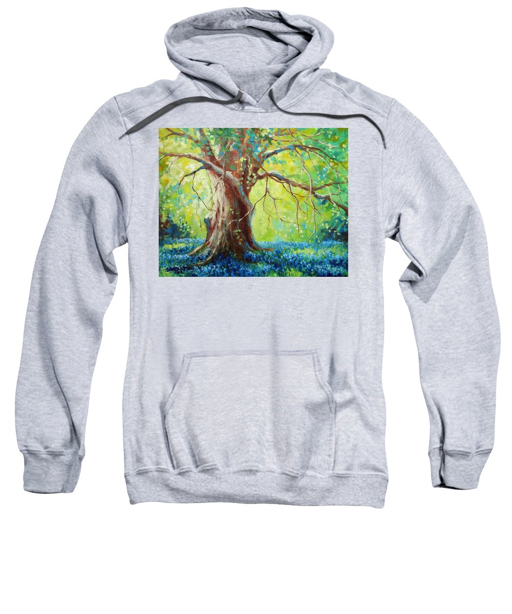 Bluebonnets Sweatshirt featuring the painting Bluebonnets Under The Oak by David G Paul