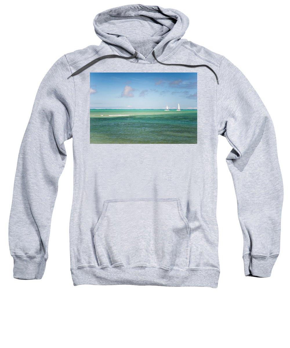 Ocean Sweatshirt featuring the photograph Blues. Mauritius by Jenny Rainbow