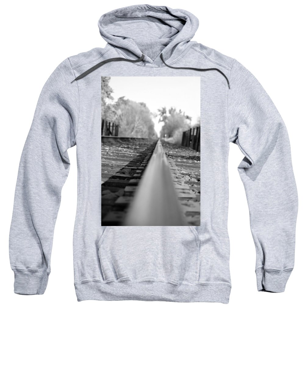 Blurred Track Rail Lines Railroad Orchard Vina Ca Sweatshirt featuring the photograph Blurred Track by Holly Blunkall