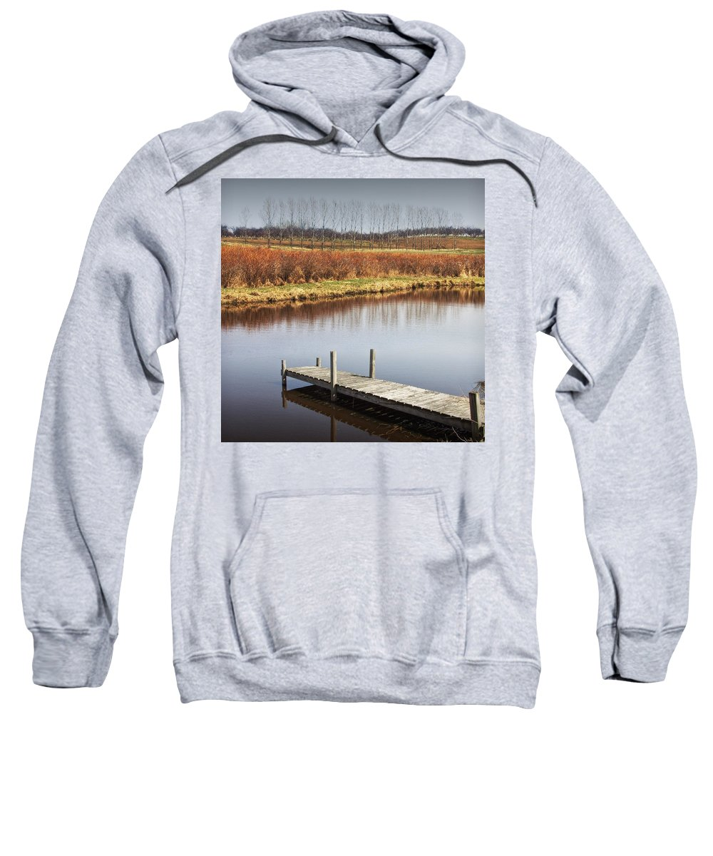 Art Sweatshirt featuring the photograph Boat Dock On A Pond In South West Michigan by Randall Nyhof