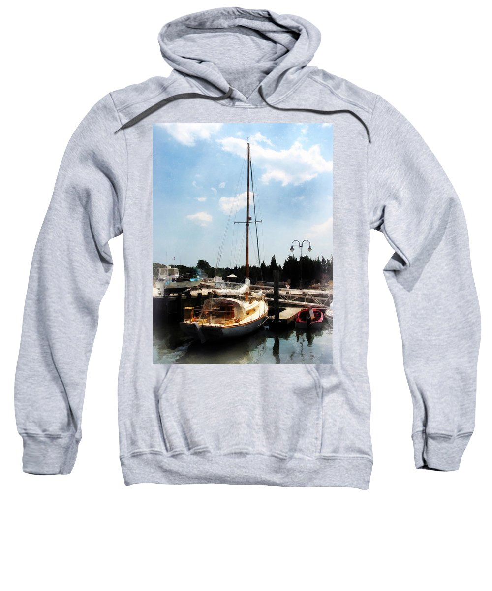 Cabin Cruiser Sweatshirt featuring the photograph Boat - Docked Cabin Cruiser by Susan Savad
