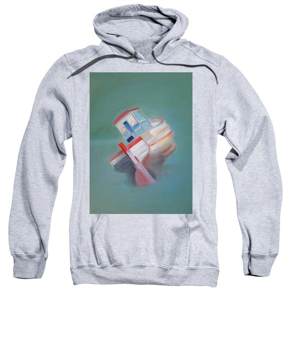 Fishing Boat Sweatshirt featuring the painting Boat Retired Tavira by Charles Stuart
