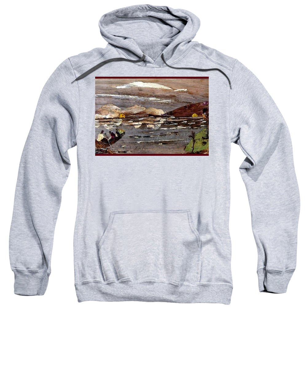 Boating Scene Sweatshirt featuring the mixed media Boating In River by Basant Soni