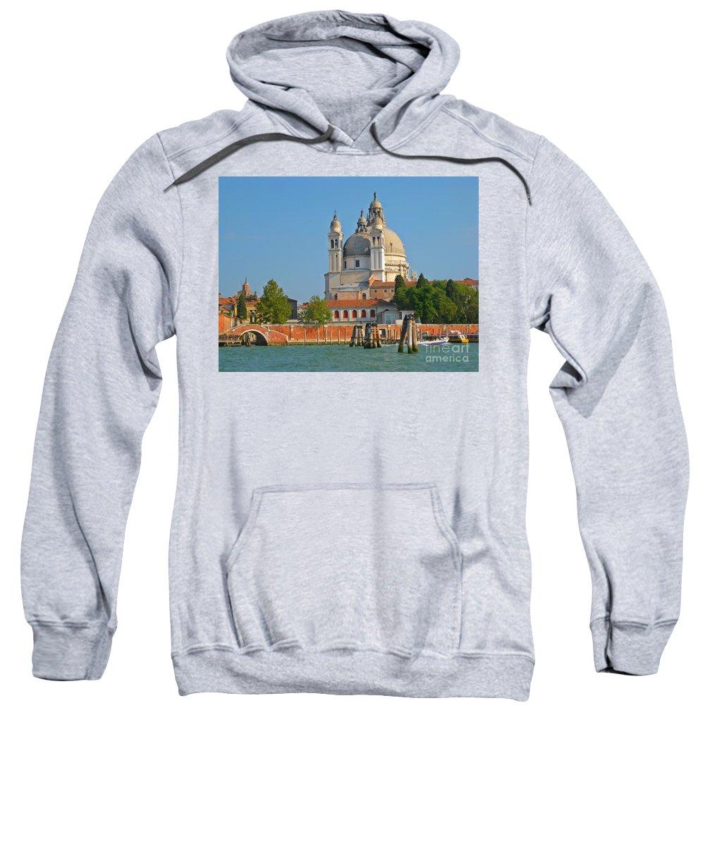 Famous Churches Sweatshirt featuring the photograph Boating Past Basilica Di Santa Maria Della Salute by John Malone