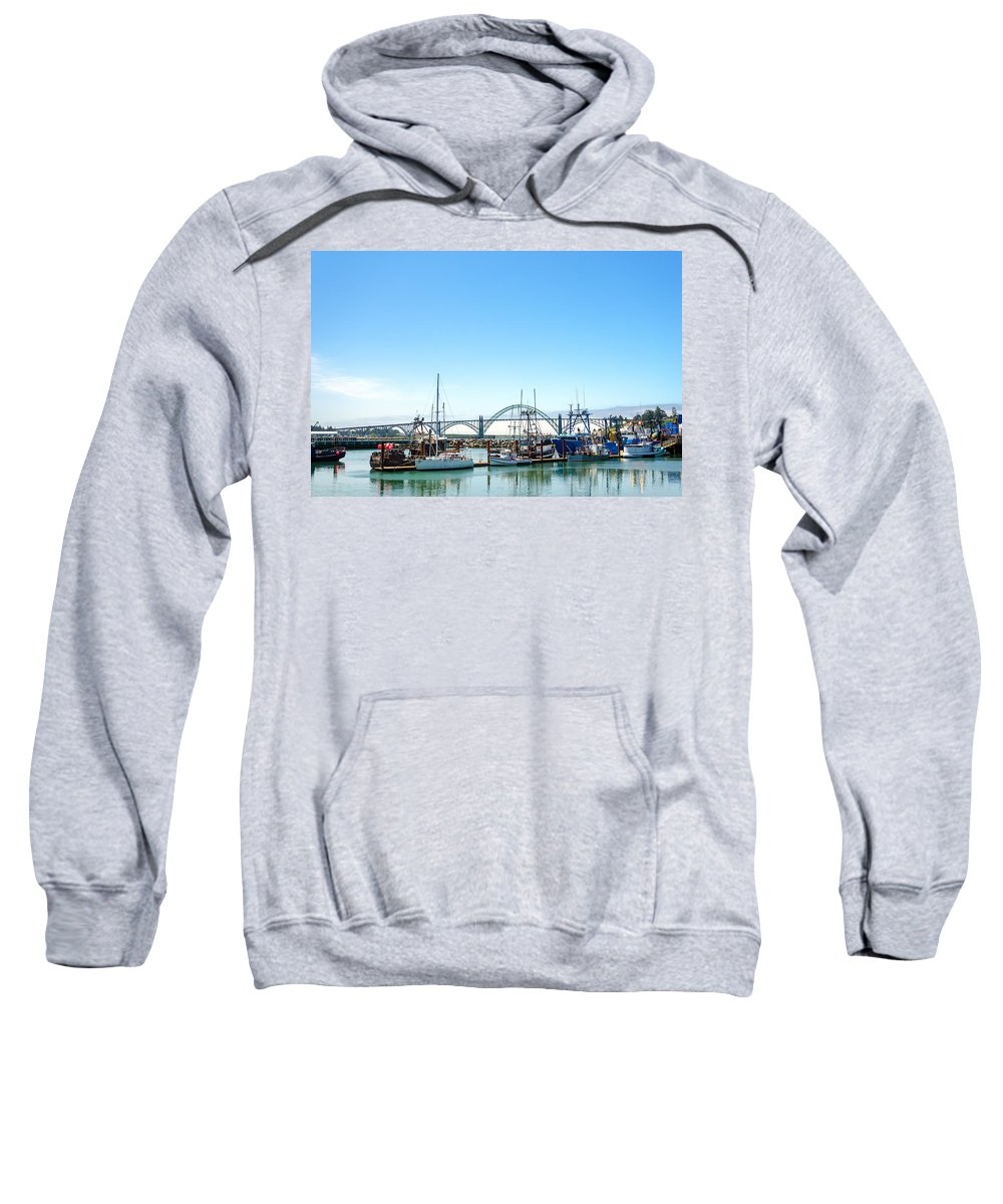 Waterfront Sweatshirt featuring the photograph Boats And Bridge by Jess Kraft