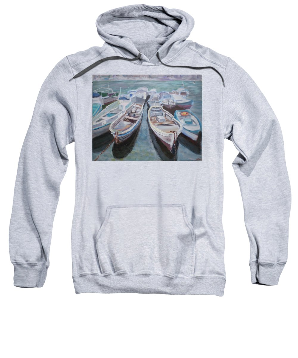 Boats Sweatshirt featuring the painting Boats by Elena Sokolova