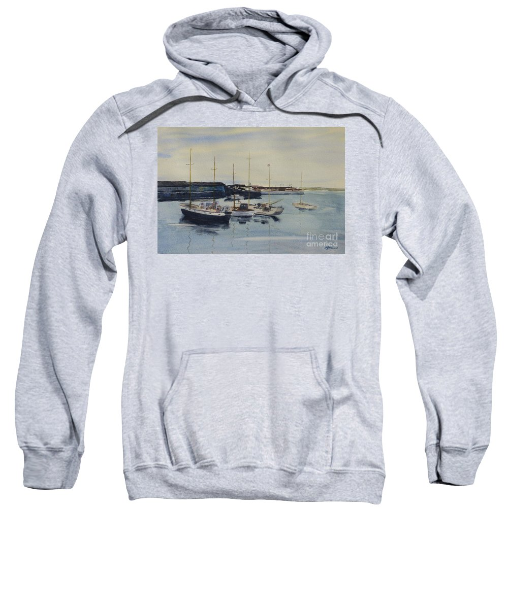 Boat Sweatshirt featuring the painting Boats In A Harbour by Martin Howard