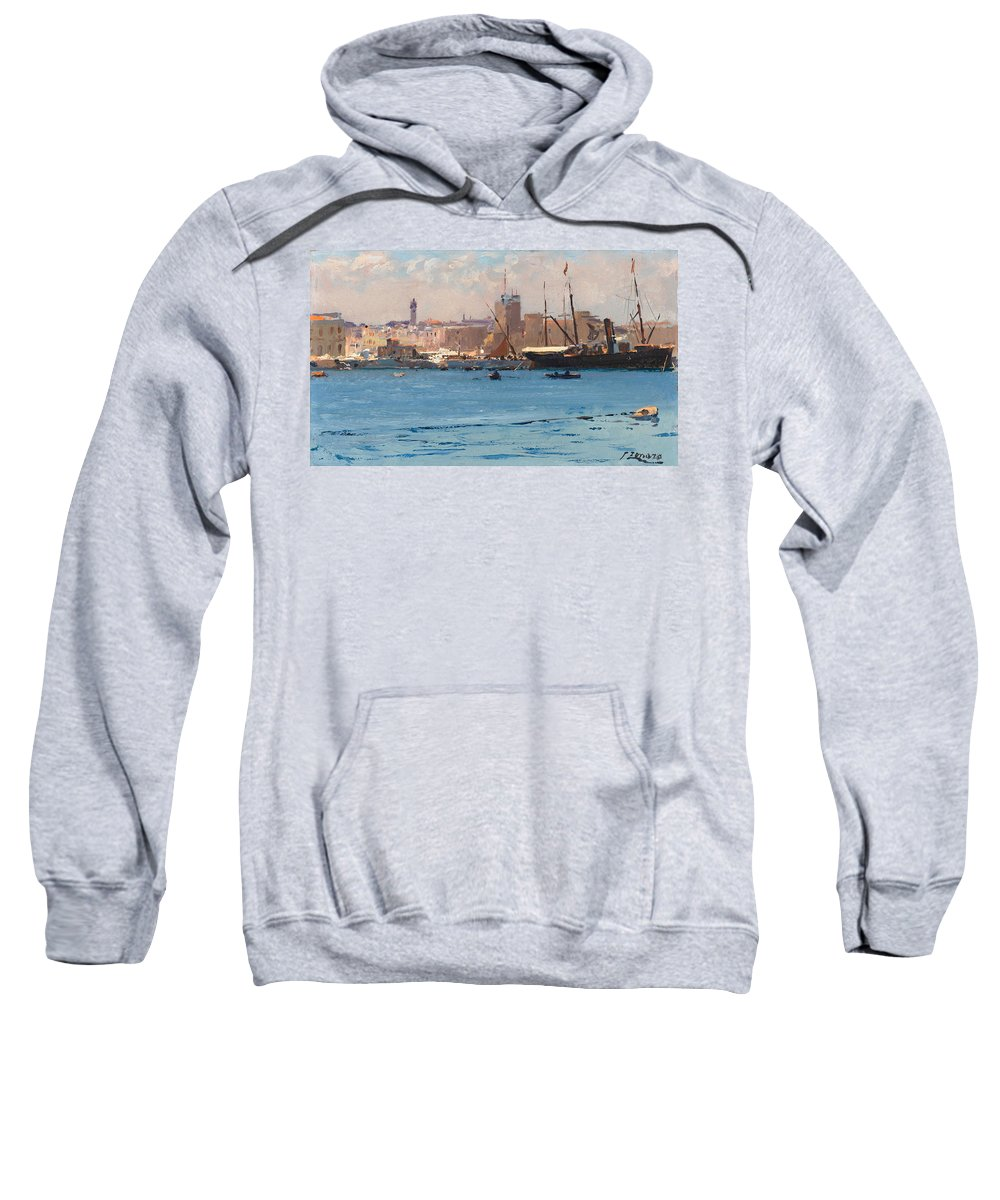 Fausto Zonaro Sweatshirt featuring the painting Boats In A Port by Fausto Zonaro