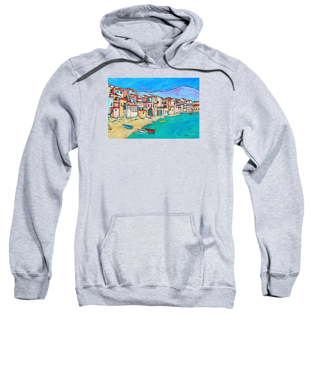 Sicily Sweatshirt featuring the painting Boats In Front Of Buildings Viii by Xueling Zou