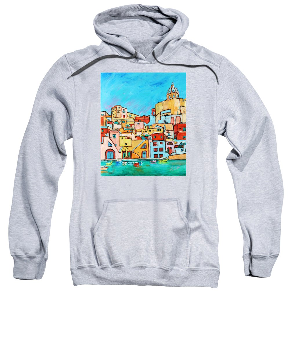 Campania Sweatshirt featuring the painting Boats In Front Of The Buildings Vii by Xueling Zou