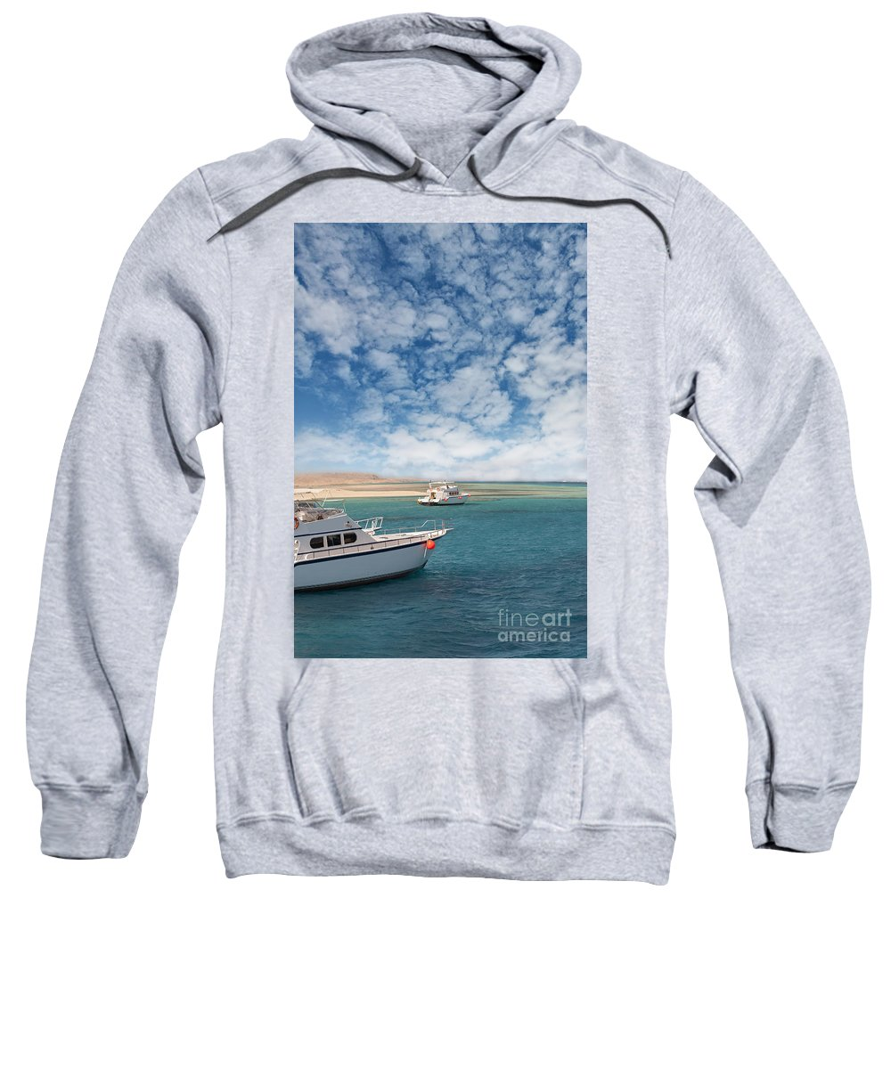 Clouds Sweatshirt featuring the photograph Boats On The Red Sea Coast by Sophie McAulay