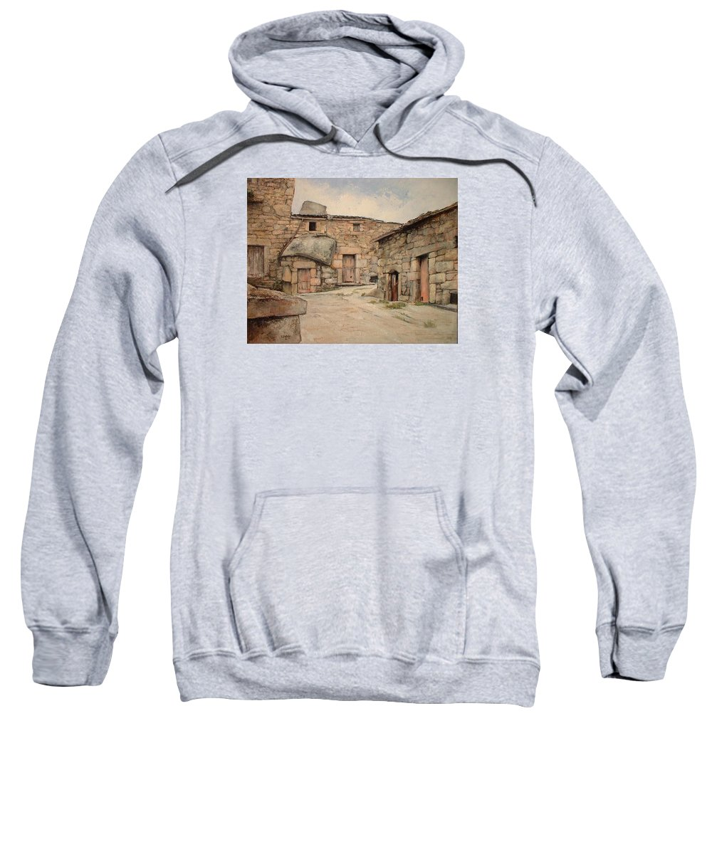 Fermoselle Sweatshirt featuring the painting Bodegas en Fermoselle by Tomas Castano