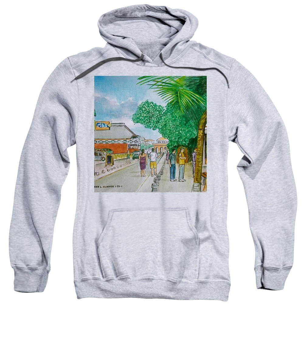 Bonaire Street Tourists Sweatshirt featuring the painting Bonaire Street by Frank Hunter