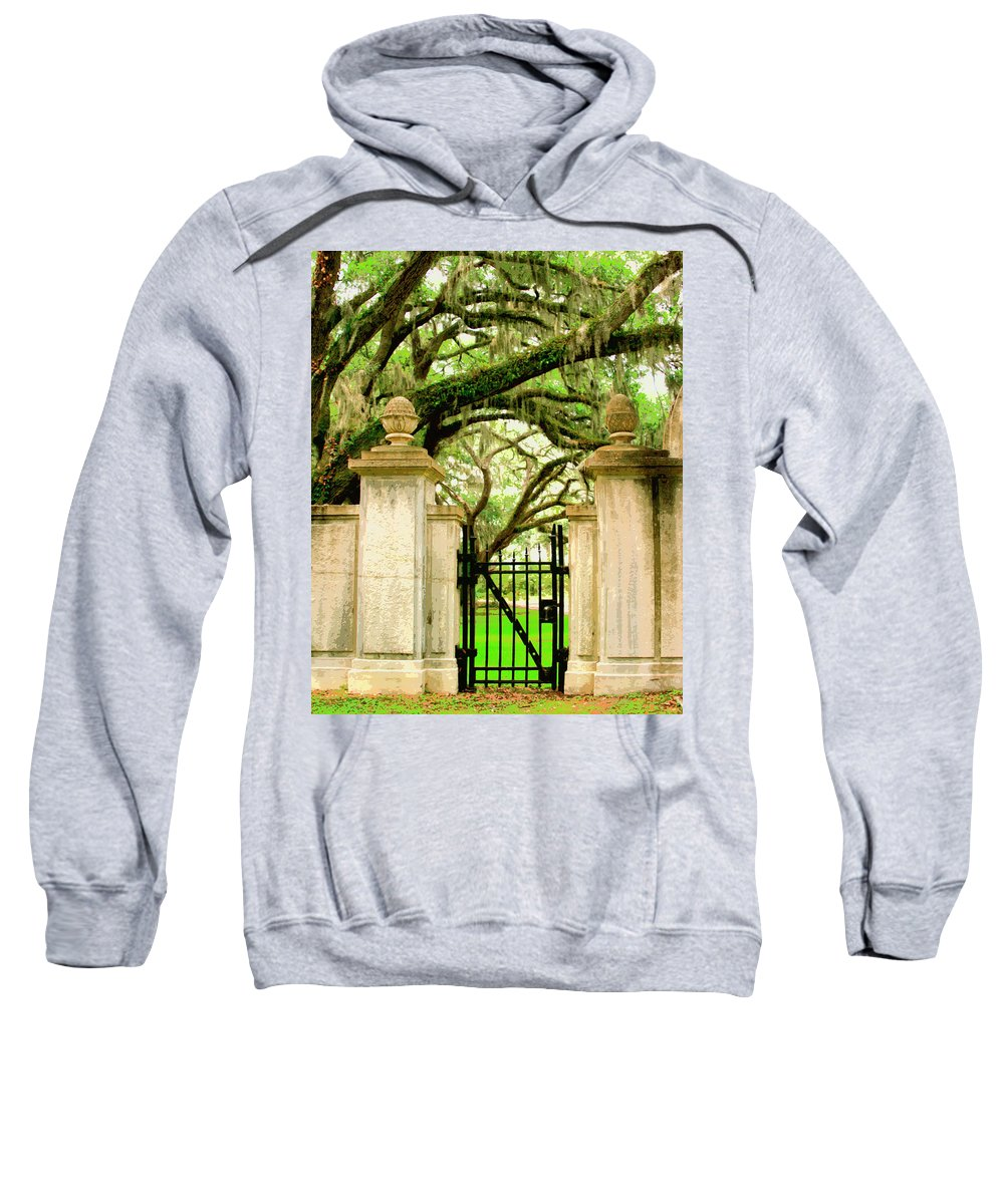 Savannah Sweatshirt featuring the photograph Bonaventure Gate Savannah Ga by William Dey