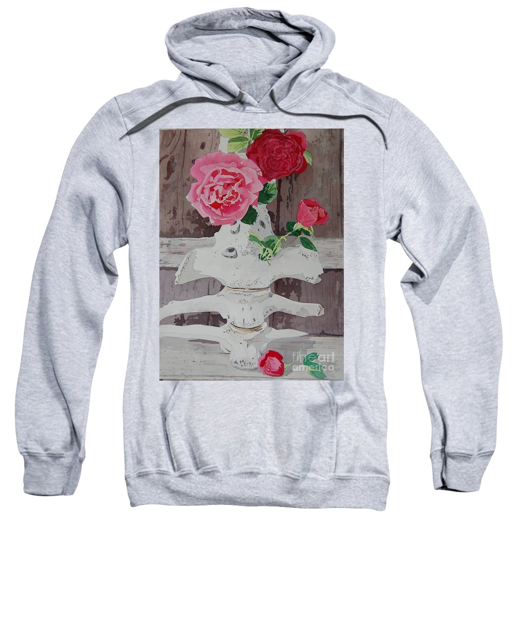 Nature Sweatshirt featuring the painting Bones And Roses by Terry Holliday