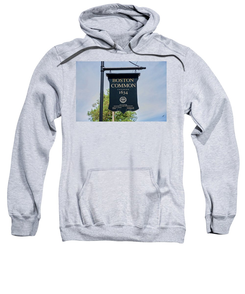 Photography Sweatshirt featuring the photograph Boston Common Park Sign, Boston, Ma by Panoramic Images