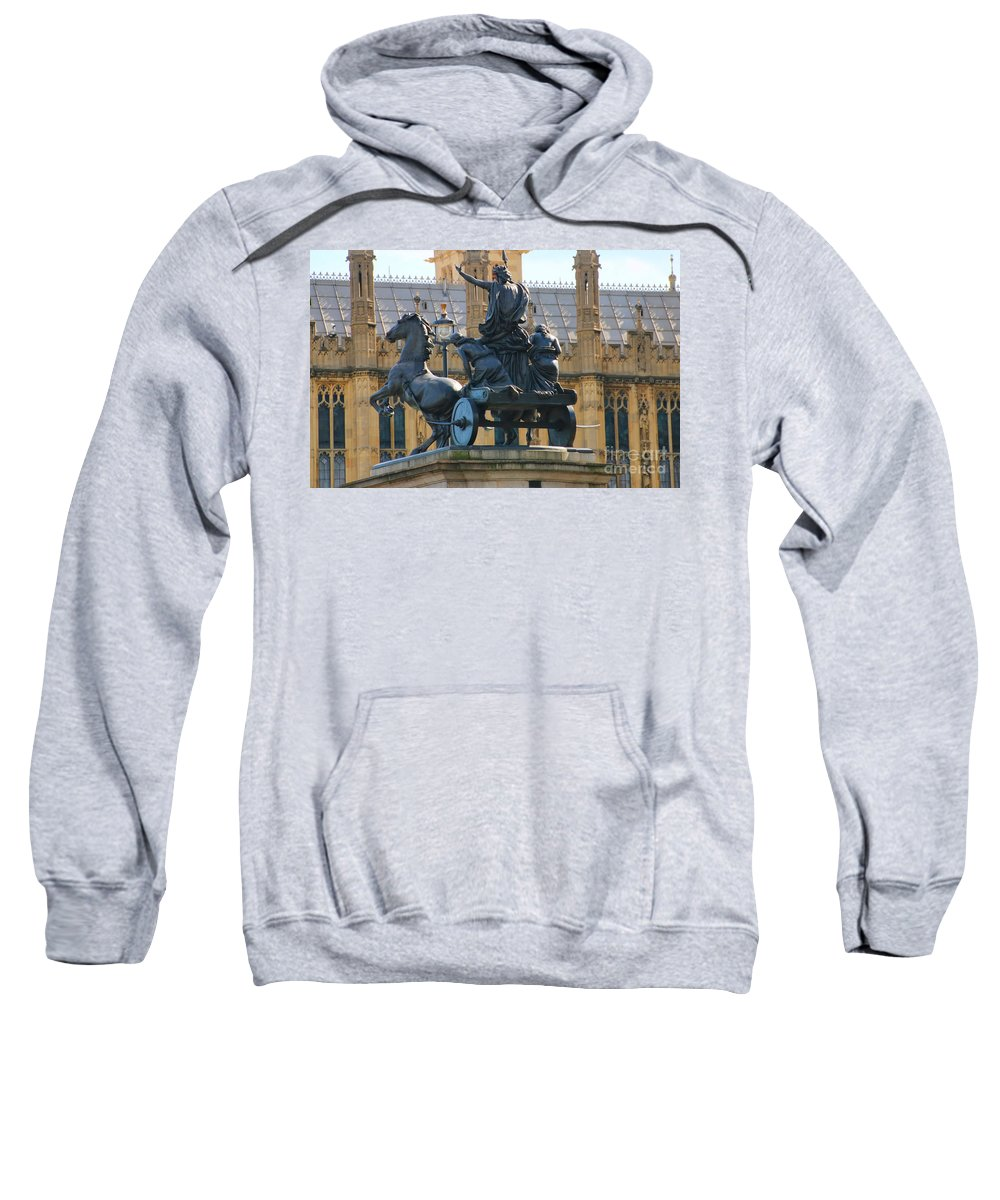 Parliament Sweatshirt featuring the photograph Boudicca Statue And Parliament 5805 by Jack Schultz
