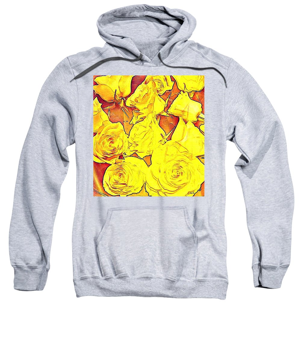 Bright Sweatshirt featuring the photograph Bowl Of Fireroses by Candee Lucas
