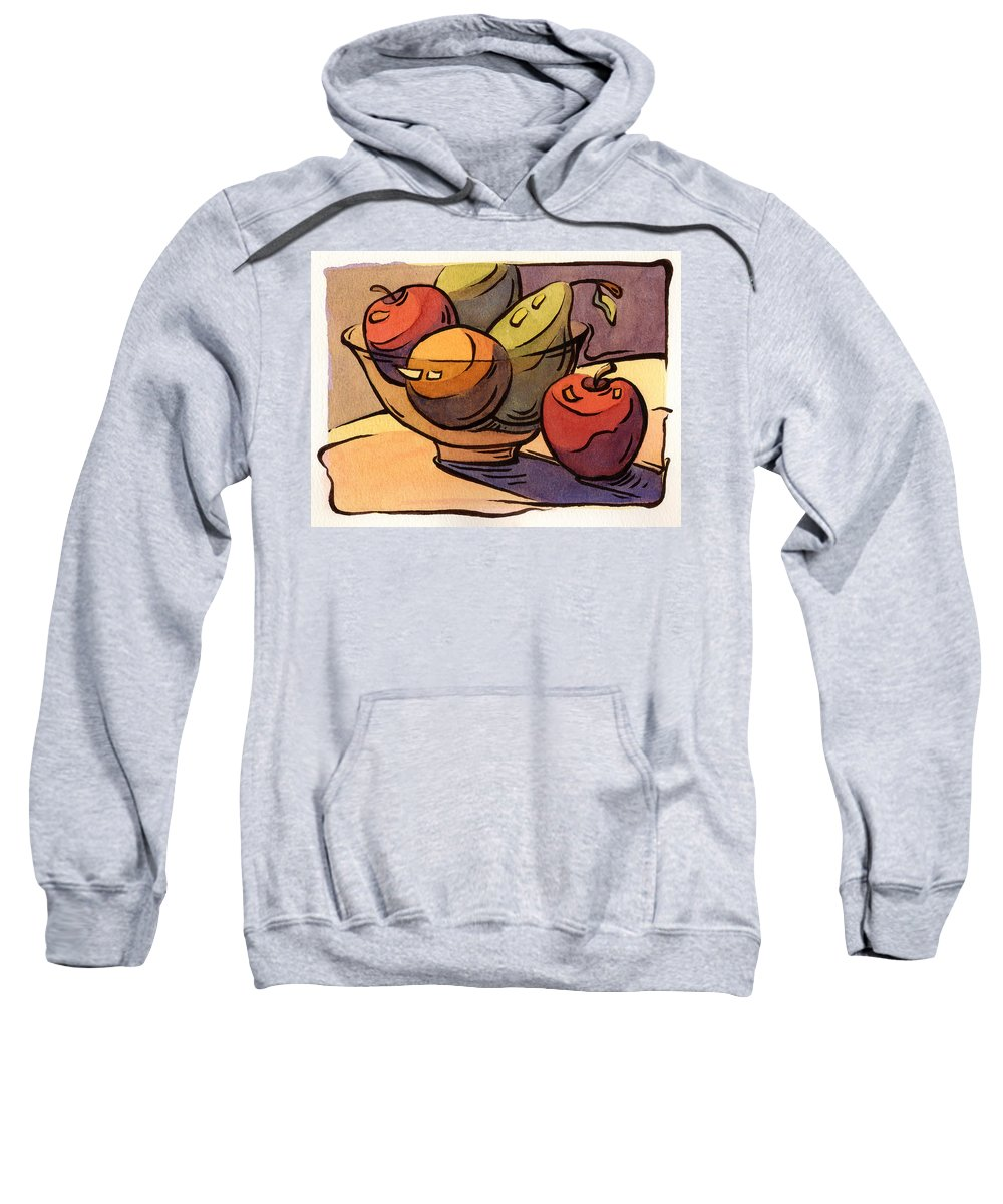Radishes Sweatshirt featuring the painting Bowl Of Fruit 8 by Konnie Kim
