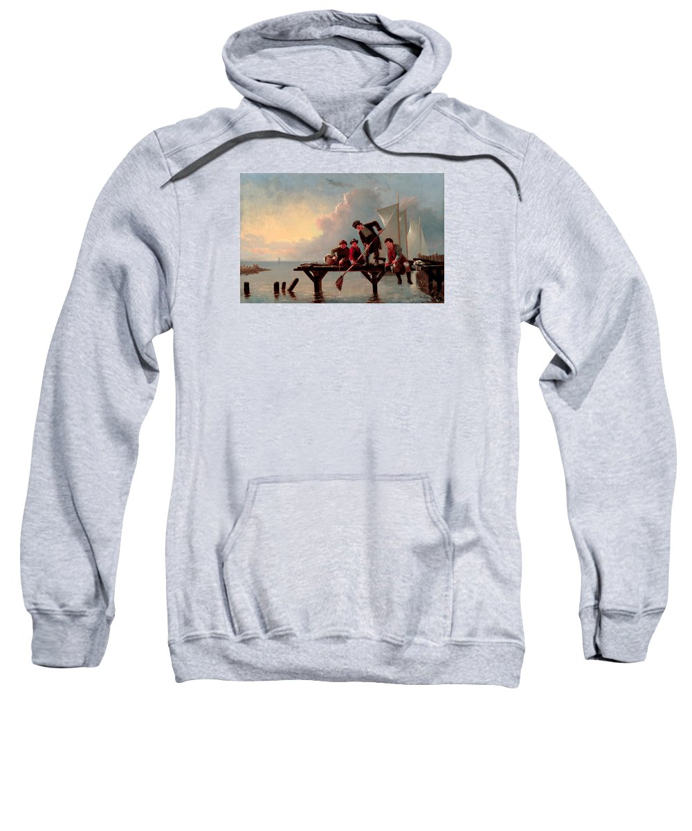 William Ranney Sweatshirt featuring the painting Boys Crabbing by William Ranney