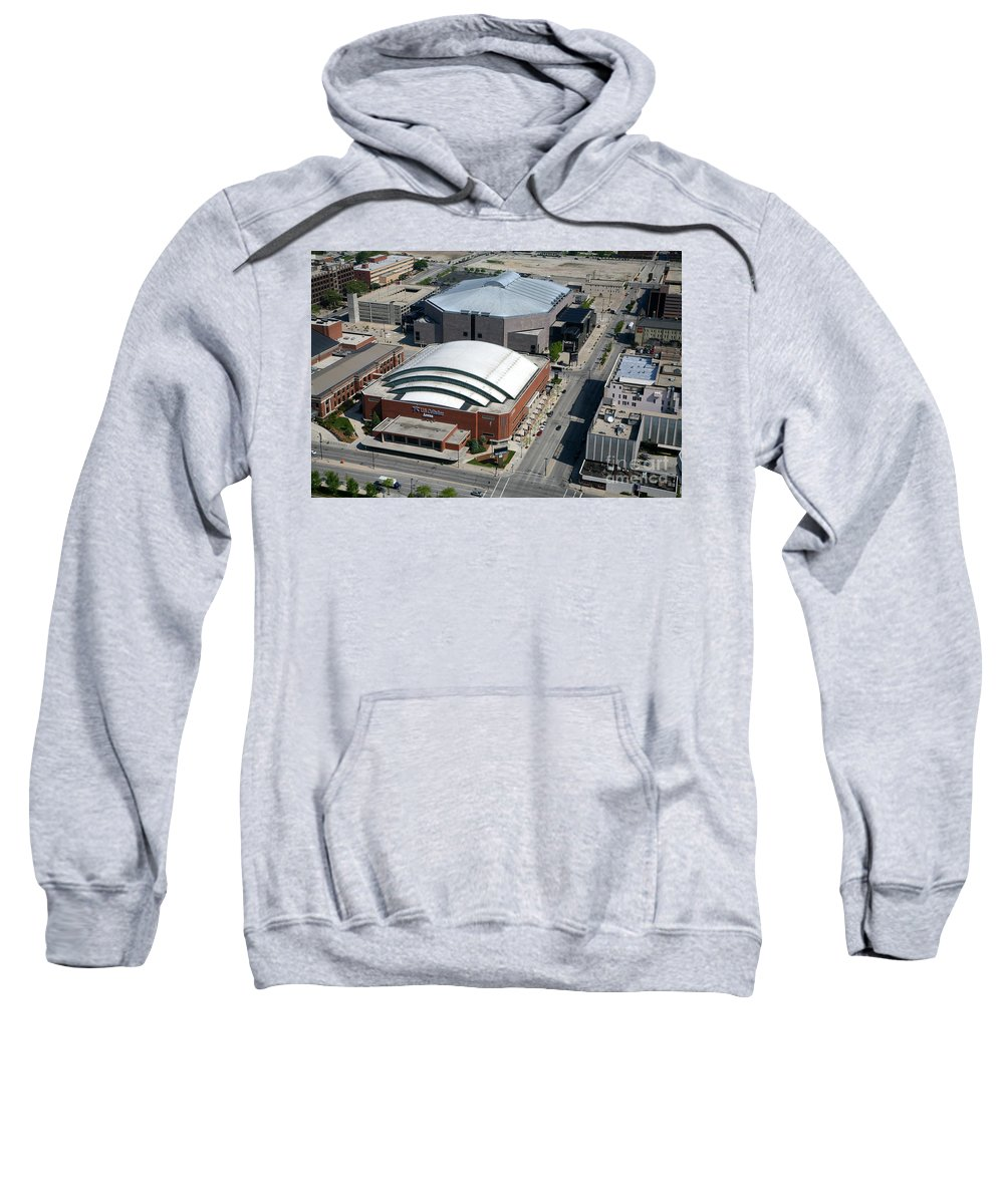Bradley Center Sweatshirt featuring the photograph Bradley Center And Us Cellular Arena by Bill Cobb