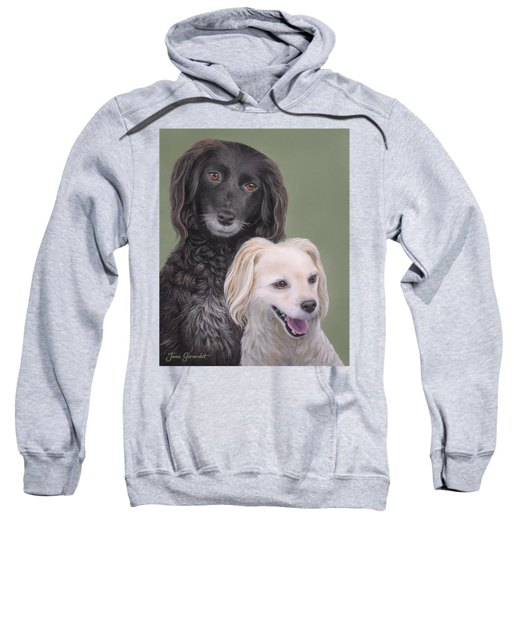 Dog Sweatshirt featuring the painting Brea And Randy by Jane Girardot