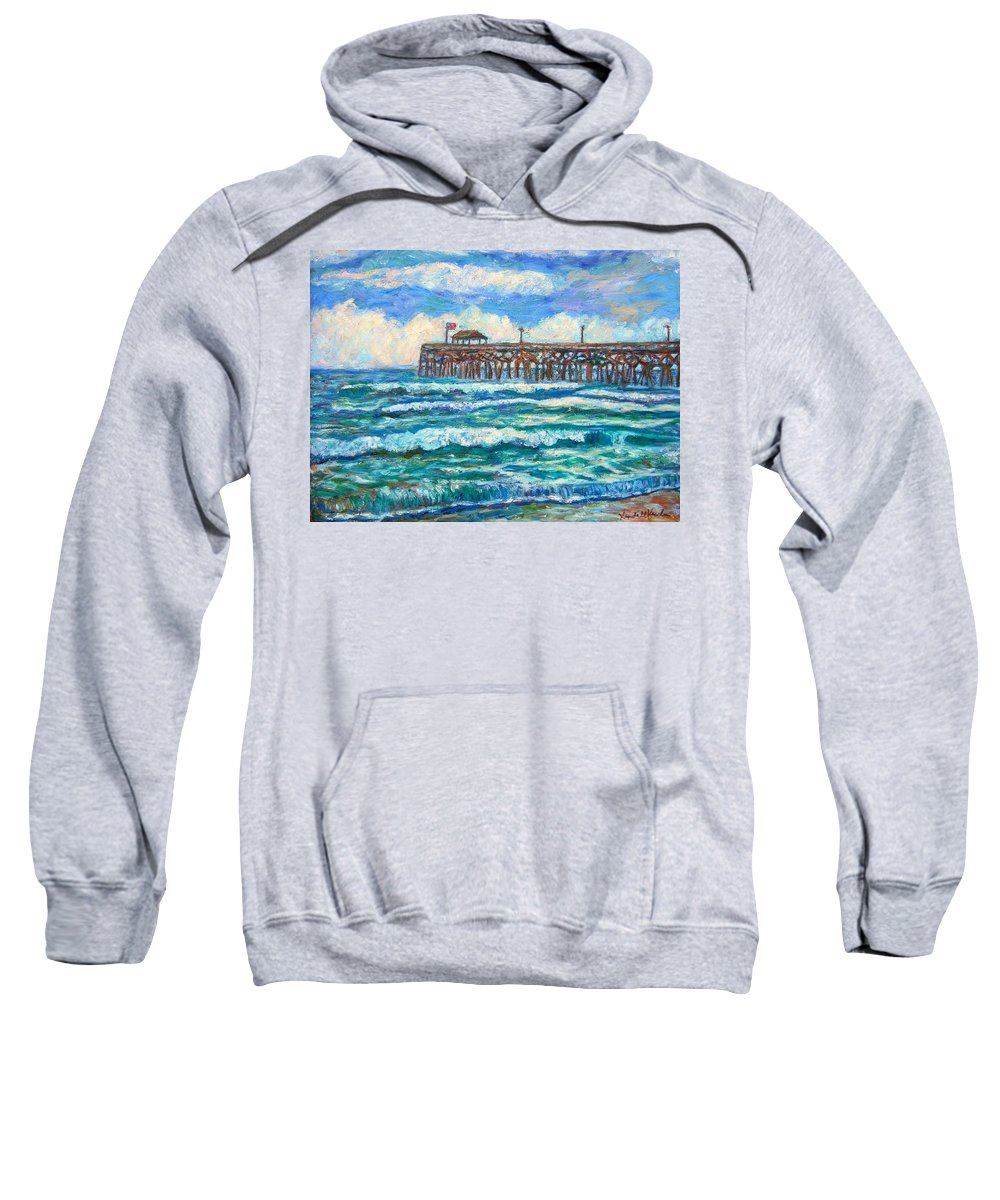 Shore Scenes Sweatshirt featuring the painting Breakers At Pawleys Island by Kendall Kessler
