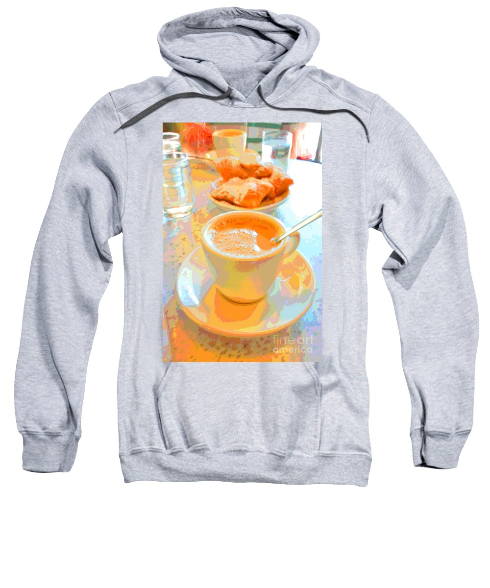 Caf� Du Monde Sweatshirt featuring the digital art Breakfast At Cafe Du Monde by Alys Caviness-Gober